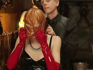 JULIE: Amateur kinky rough latex bondage she is
