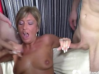 Old Muff In A Threesome With Hubby's Friend