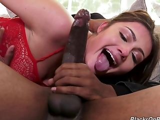 Insatiable With Crimson Underwear Takes Two Black Boners