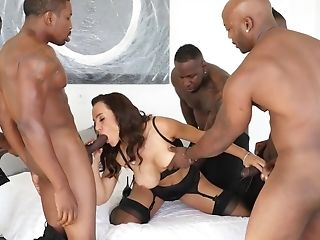 Luxurious Cougar Prettily Gang-fucked By Five Dark-hued Stallions