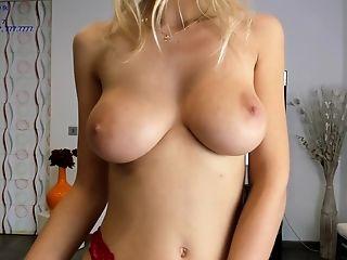 Fledgling Big-boobed Blonde With Big Naturals Posing And Masturbating On Webcam