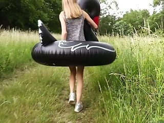 Beautiful Nancy A Takes Giant Inflatable Swan Swim Ring To Masturbate On It