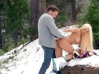 Suspended Stud Fucks Huge-chested Blonde Gf In The Snow
