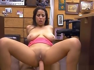Hefty Booby Black-haired Nina Railing Dick In Pawn Shop Office