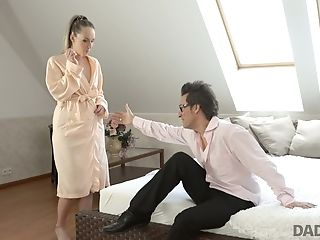 Sugary Youthfull Blonde Is Making Love With Experienced Old Dude