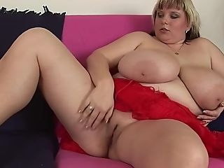Brief Haired Blonde Matures Bbw Juliana B. Licks Her Large Tits Naked