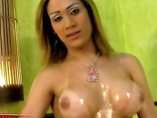 Feminine Tranny In Undergarments Oils Up Her Bigtits And Uber-cute Culo