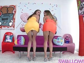 Kyler And Naomi Take Turns Sucking A Big Dick