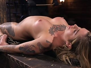 Inked Bombshell Stunner Kleio Valentien Frigged And Manhandled While Tied Up