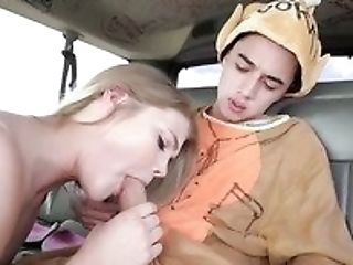 Sexy And Promiscuous Blondie Brooke Karter Fucks A Skinny Stud In A Van