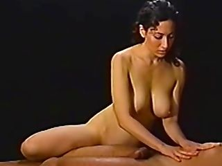 Dark Haired Brown-haired Matures Mummy Oils Up A Man Rod And Strokes It