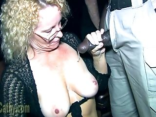 Weenie-addicted Gilf Cathy Blowbang And Mass Ejaculation