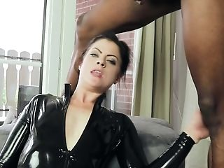 Horny Dark-haired Honey In Spandex Catsuit Take Big Black Man Rod Up Her Butt