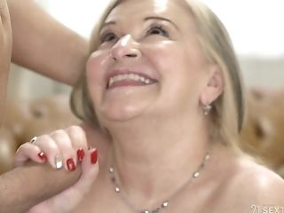 Trampy Matures Blonde Granny Betsy B Drinks Jism After A Rear End Style