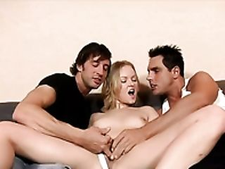 Real Blonde Mega-slut Lussi Gets Boned In Spoon Pose And Mouthfucked