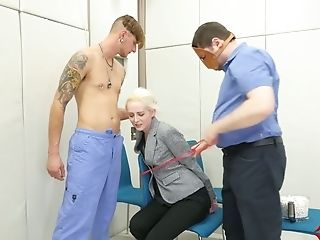 Tied Ash-blonde Bitch Is Fucked In Her Spread Anal Invasion Fuck-hole By One Non-traditional Dude