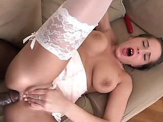 Black-haired Anabella Loves Wearing Stockings And Getting Fucked By A Big Black Cock