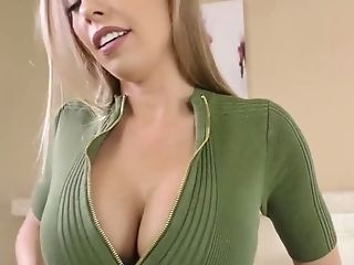 Bosomy Supah Sexy Honey Britney Amber Fumbles Her Love Button While Railing Dick