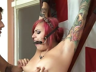 Inked Ginger-haired Vyxen Steel Strapped To A Pole And Manhandled Hard-core