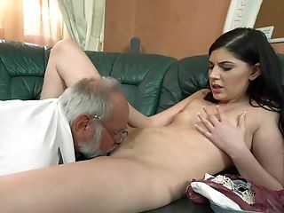 Albert Fucks Mouth And Vag Of Teenager Dark-haired Miranda Miller