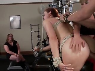 Dark-haired Double Penetration Fucked In Public Gym