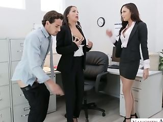 Lusty Office Broads With Sexy Boobies Desire To Work On Stiff Dick (fffm)