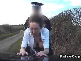 Huge-boobed Stunner Deepthroats Dick In Faux Cops Car