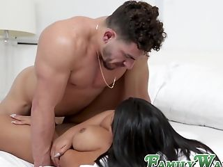 Latina Stepmom With Immense Rump And Big Tits Helps Her Stepson