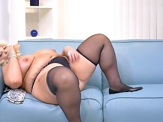 Blonde Bbw Renatte Likes To Jack A Faux-cock With Her Immense Mammories