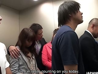 Svelte Japanese Chick Aoi Miyama Completes Up Having An Orgy In An Elevator