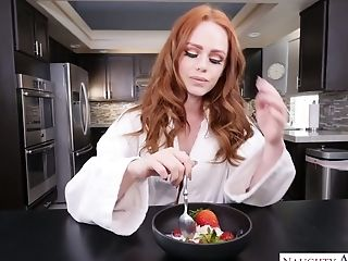 Instead Of Eating Breakfast Red-haired Ella Hughes Chooses To Rail Dick