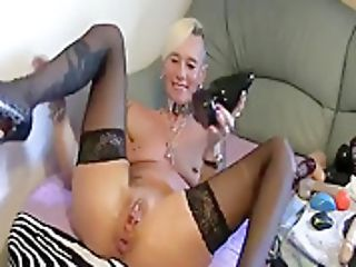 Hot Granny Tied Up Metal Cougar Pierced Punk Railing Large Faux-cock