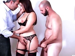Attractive And Well Shaped Stunner Valentina Nappi Works On Two Rock Hard Sausages