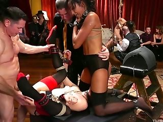 Tied Up Bitch Aiden Starr Gets Her Labia Penalized In Public