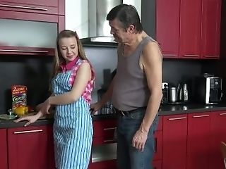 Wonderful Chick Gets Her Natural Puny Tits Sucked In The Kitchen
