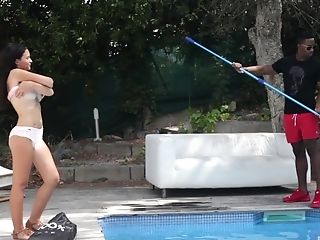 Gina Ferocious Fucks A Big Black Beef Whistle By The Swimming Pool