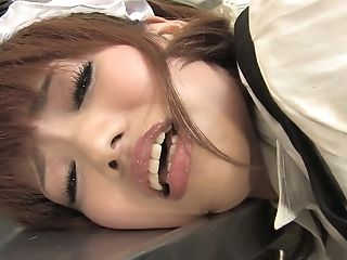 Hot Asian Teenager In Sexy Maid Garment Masturbating In The Kitchen