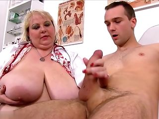 Fat Old Whore June Kelly Finger-tickled Asshole By Youthfull Man