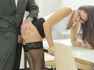 Assistant Carolina Abril In Stockings And Underwear Fucked In The Office