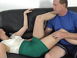 On Leather Sofa With Saucy Mummy - Bianca Breeze