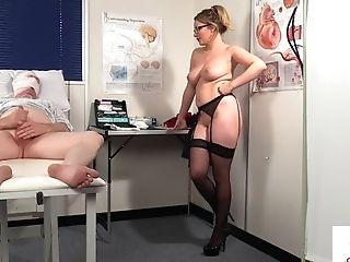 Brit Nurse Instructing Patient To Wank
