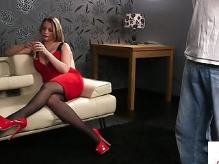 Buxom Cfnm Beauty Instructs Tugging Stranger