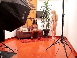 Hot Black Tranny Maria Fernanda And Her Gf Are Ready For Shooting