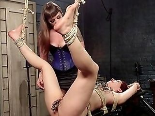 Restrain Bondage Extreme During Unexperienced Female Domination For Two Tramps