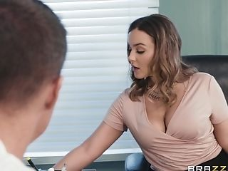 Natasha Nice Spreads Her Gams On A Desk For A Hard Pipe
