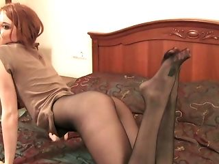 Lovely Crimson Haired Chick In Stockings Thirsts To Taunt Her Own Clitoris Just A Bit