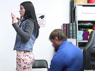 Shoplifting Black-haired Sadie Blake Gets Her Mouth And Cooch Penalized