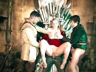 Evil Queen Gets Fucked By Three Well Draped Fellows