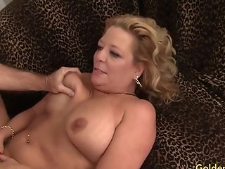 Blonde Gilf Karen Summers Has Her Hairy Twat Plunged By An Old Man