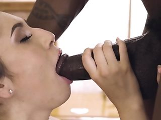 Black-haired Woman Judy Jolie Gasps On A Black Delicious Pecker
